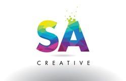 SA S A Colorful Letter Origami Triangles Design Vector. stock illustration