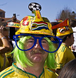 SA Soccer Fan Wearing Makaraba. Football frenzy at Bafana celebration Royalty Free Stock Photos