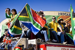 SA Soccer Fans Celebrate in Sandton Streets. Football frenzy at Bafana celebration Stock Photos