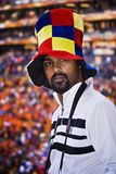 SA Soccer Supporter - FIFA WC. South African fan all dressed up in fancy dress costume to show support for the teams at the 2010 FIFA soccer world cup Stock Photography