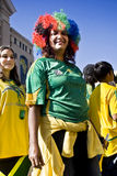 SA Soccer Supporter Wearing Hairdo. Football frenzy at Bafana celebration Stock Image