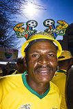 SA Soccer Supporter Wearing Makaraba. Football frenzy at Bafana celebration Royalty Free Stock Photos