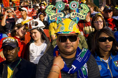 SA Soccer Supporters - FIFA WC. South African fans all dressed up in fancy dress costume to show support for the team at the 2010 FIFA soccer world cup Royalty Free Stock Photo