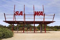 SA WA边界标志 库存照片