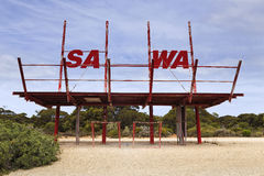 SA WA border sign Stock Photos