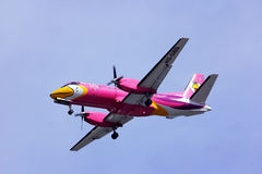 Saab 340 of Nokmini airline. Landing to chiangmai airport, Flight from Mae hong son Stock Photos
