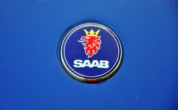 Saab Autozeichen Stockfoto
