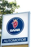 Saab car dealership signage. Verona, Italy - September 5, 2018: Saab car dealership signage. Saab Automobile AB was Swedish a manufacturer of automobiles. The stock photo