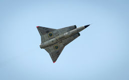 Saab 35 Draken with double delta wing in flight Stock Image