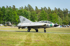 Saab 35 Draken on a runway Royalty Free Stock Image