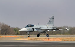 SAAB Gripen Taxiing. The gripen exiting the runway after its air display session stock photography