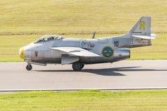 SAAB J29 Tunnan historic fighter on runway Stock Photo