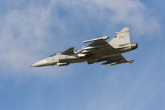 Saab JAS 39C Gripen fighter just started Stock Photo