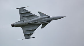 Saab JAS 39 Gripen jet during flight demonstration 02 Royalty Free Stock Photography