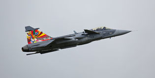 Saab JAS 39 Gripen jet during flight demonstration Stock Photography