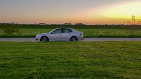 Sunset Saab. A Saab 93 standing in the sunshine after a sunny day royalty free stock photography