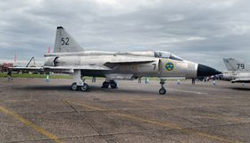 SAAB Viggen, το πετώντας βαρέλι στον αέρα Scampton παρουσιάζει στις 10 Σεπτεμβρίου 2017 Ενεργός βάση Βασιλικής Αεροπορίας Λινκολν Στοκ Εικόνες