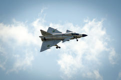 Saab 37 Viggen in flight with open chassis Stock Photography