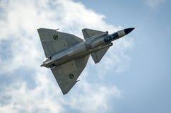 Saab 37 Viggen tijdens de vlucht Royalty-vrije Stock Foto