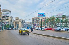 Saad Zaghloul Square in Alexandria, Egypt Royalty Free Stock Images