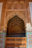 Saadian tombs in Marrakech. The Saadian tombs in Marrakech. The tombs were discovered in 1917 and restored. The  beauty of their decoration makes it an important Stock Image