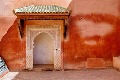 Saadian tombs in Marrakech. The Saadian tombs in Marrakech. The tombs were discovered in 1917 and restored. The  beauty of their decoration makes it an important Stock Images