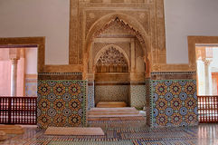 Saadian tombs in Marrakech. The Saadian tombs in Marrakech. The tombs were discovered in 1917 and restored. The  beauty of their decoration makes it an important Stock Photography