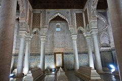 The Saadian tombs mausoleum in Marrakech built by sultan Ahmad al-Mansur in Morocco stock image