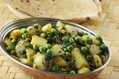 Saag Aloo Bhuna - piatto degli spinaci e della patata Immagine Stock Libera da Diritti