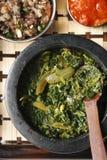 Saag Bhaji -从印度的一道蔬菜菜肴。 图库摄影