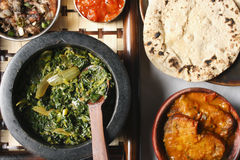 Saag Bhaji - een vegetarische schotel van het Noorden - oostelijk Deel van India. Stock Foto's