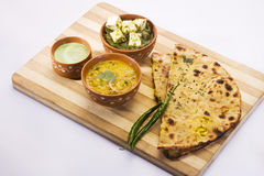 Saag Paneer, Dal with Stuff Paratha Royalty Free Stock Image