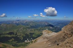 Saanenland valley and Coll du Pillon in summer Stock Photo