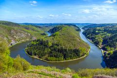 Saar loop at Cloef with trees Stock Images