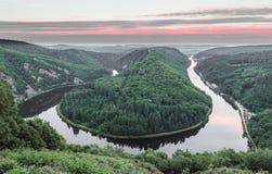 Saar loop at sunset Mettlach in Saarland Germany.  Royalty Free Stock Image