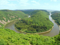Saar River. The Saar river turning around a hill in Saarland, Germany Stock Photos