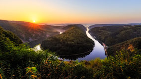 Saar river bend near Mettlach Stock Photo