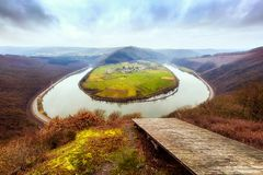 Saar river bend near Taben-Rodt on a cold day in winter. The Saar river bend near Taben-Rodt on a cold day in winter Royalty Free Stock Photo