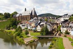 Saarburg bij de rivier Saar Stock Afbeeldingen