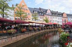 Saarburg pejzaż miejski z swój częścią Ri dziejowym starym grodzkim Leuk i fotografia royalty free
