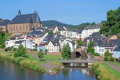 Saarburg Saarland flod, Tyskland Royaltyfri Fotografi