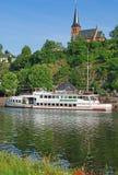 Saarburg Saarland flod, Tyskland Arkivfoton