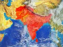 SAARC państwa członkowskie na ziemi od przestrzeni ilustracji