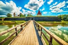 Saarema wyspa, Estonia: Kuressaare Biskupi kasztel zdjęcie stock