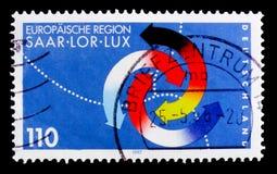 Saarland-Lor-Lux europeisk region, serie, circa 1997 Royaltyfria Foton