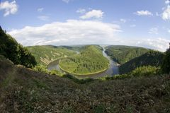 Saarschleife. Overlooking a horseshoe bend in the Saar River, Germany, called the Saarschleife Stock Photos
