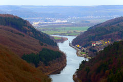 Saarschleife. View of the Saar loop (Saarschleife) from the view point in Orscholz, Saarland / Germany. A warm spring evening Stock Images