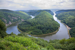 Saarschleife. View of a river Saar with Saarschleife  by city Orscholz, Saarland / Germany, summer, panoramic Stock Photography