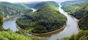 Saarschleife. View of a river Saar with Saarschleife  by city Orscholz, Saarland / Germany, summer, panoramic Stock Image