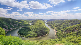 Saarschleife - Bent River Landscape. Summer view of the Saarschleife - a famous bend in the river Saar near the Germany city of Mettlach Stock Photos